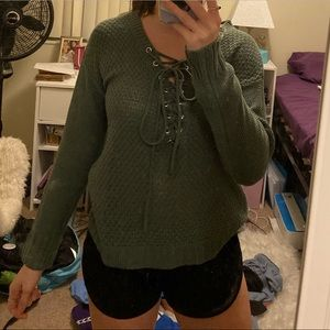 green charlotte russe tie up sweater